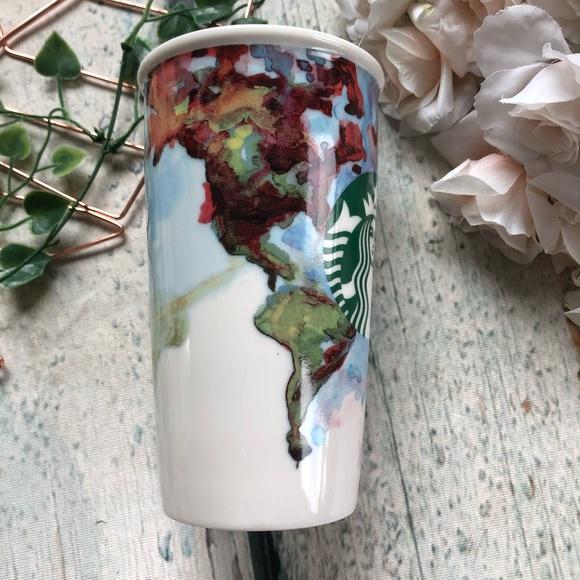 Starbucks 2015 watercolour world map travel mug